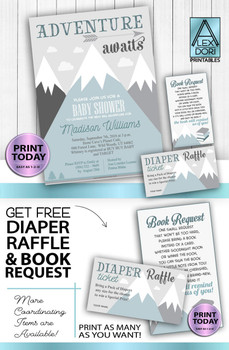 Mountain Invitation Adventure Awaits baby shower kit with  book request, diaper raffle, invitation, DIY text editable