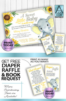 Yellow and Grey Elephants DIY Invitations plus FREE diaper raffle and book request card printables