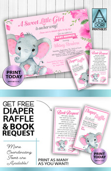DIY Pink Gray Elephants Invitations plus FREE diaper raffle and book request card printables