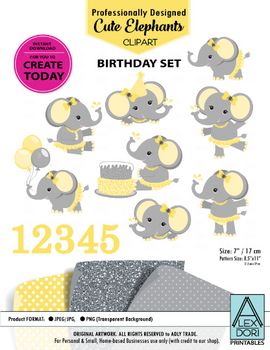 Clipart Elephant Yellow and Grey Birthday Set