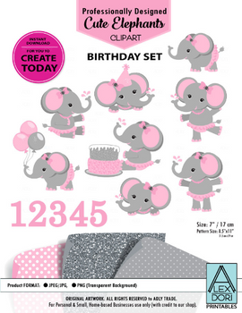 Clipart Elephant Soft Pink and Gray Birthday Set