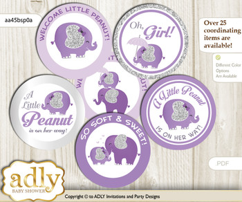 Baby Shower Elephant Peanut Cupcake Toppers Printable File for Little Elephant and Mommy-to-be, favor tags, circle toppers, Glitter, purple gray