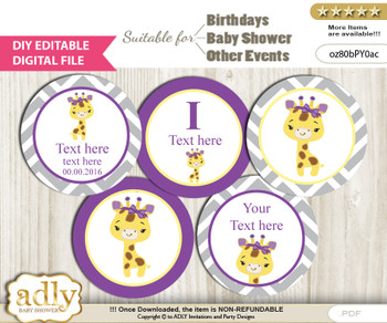 DIY Text Editable Giraffe Girl Cupcake Toppers Digital File, print at home, suitable for birthday, baby shower, baptism