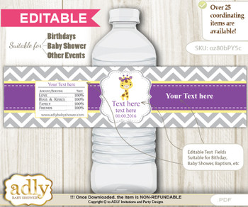 DIY Text Editable Giraffe Girl Water Bottle Label, Personalizable Wrapper Digital File, print at home for any event