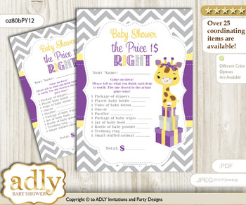Printable Giraffe Girl Price is Right Game Card for Baby Girl Shower, Purple Yellow, Safari