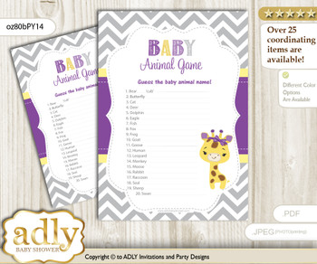 Printable Giraffe Girl Baby Animal Game, Guess Names of Baby Animals Printable for Baby Girl Shower, Purple Yellow, Safari