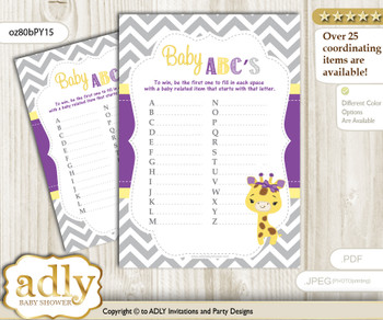 Giraffe Girl Baby ABC's Game, guess Animals Printable Card for Baby Girl Shower DIY – Safari