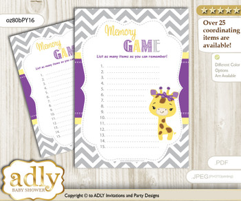 Giraffe Girl Memory Game Card for Baby Shower, Printable Guess Card, Purple Yellow, Safari