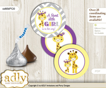 Printable  Giraffe Girl Candy Kisses for Baby Giraffe Shower DIY Purple Yellow , Safari