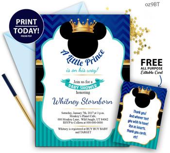 Royal-Prince Mickey Baby shower Blue and Turqoiuse invitation, Crown,Digital mickey mouse invitation-oz9bt
