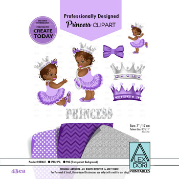 Princess African American  Baby Digital Clipart, Purple and gray baby girl clipart,crown clipart,baby shower