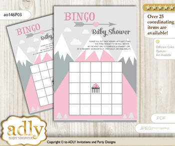 Printable Gray pink Mountain Bingo Game Printable Card for Baby Adventure Shower DIY grey, Gray pink, Girl