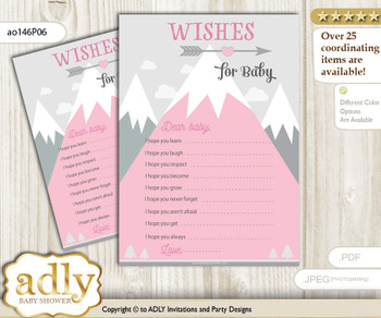 Adventure Mountain Wishes for a Baby, Well Wishes for a Little Mountain Printable Card, Girl, Gray pink