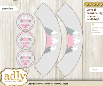 Printable Adventure Mountain Cupcake, Muffins Wrappers plus Thank You tags for Baby Shower Gray pink, Girl
