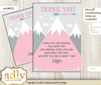 Adventure  Mountain Thank you Cards for a Baby Adventure Shower or Birthday DIY Gray pink, Girl