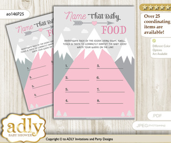 Adventure Mountain Guess Baby Food Game or Name That Baby Food Game for a Baby Shower, Gray pink Girl