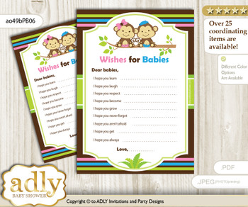 Monkeys Girl Boy Wishes for a Baby, Well Wishes for a Little Girl Boy Printable Card, Twins, Pink Blue Green
