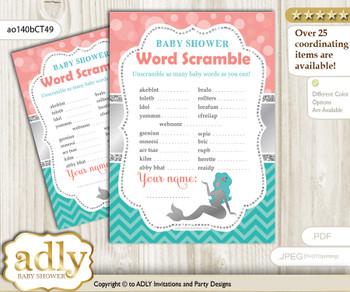 Mermaid Girl Word Scramble Game for Baby Shower