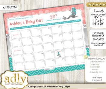 DIY Mermaid Girl Baby Due Date Calendar, guess baby arrival date game