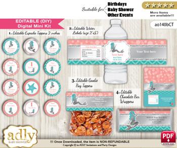 DIY Text Editable Mermaid Girl Baby Shower, Birthday digital package, kit-cupcake, goodie bag toppers, water labels, chocolate bar wrappers