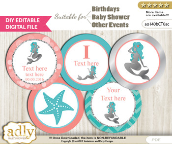 DIY Text Editable Mermaid Girl Cupcake Toppers Digital File, print at home, suitable for birthday, baby shower, baptism