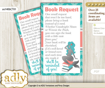 Request a Book Instead of a Card for Mermaid Girl Baby Shower or Birthday, Printable Book DIY Tickets, Coral, Teal Silver