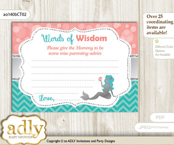 Teal Silver Mermaid Girl Words of Wisdom or an Advice Printable Card for Baby Shower, Coral
