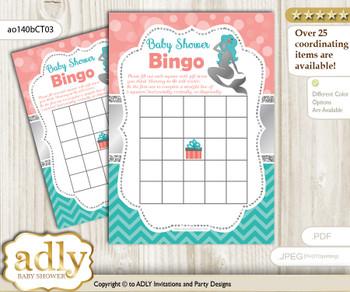 Printable Teal Silver Girl Bingo Game Printable Card for Baby Mermaid Shower DIY grey, Teal Silver, Coral