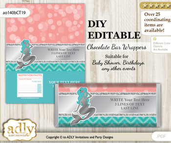 DIY Personalizable Mermaid Girl Chocolate Bar Candy Wrapper Label for Mermaid  baby shower, birthday Teal Silver , editable wrappers