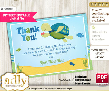 DIY Editable Turtle Boy Thank you Printable card, only text editable thank you for Baby Shower or Birthday Party