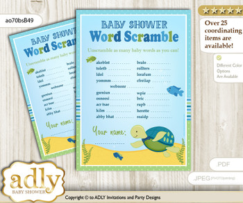 Turtle Boy Word Scramble Game for Baby Shower