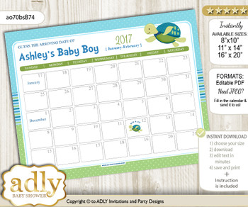 DIY Turtle Boy Baby Due Date Calendar, guess baby arrival date game