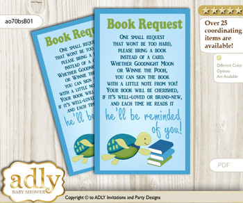 Request a Book Instead of a Card for Turtle Boy Baby Shower or Birthday, Printable Book DIY Tickets, Reef, Sea
