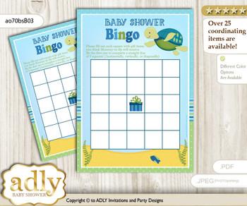 Printable Sea Boy Bingo Game Printable Card for Baby Turtle Shower DIY grey, Sea, Reef