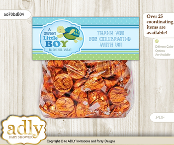 Printable Turtle Boy Treat or Goodie bag Toppers for Baby Turtle Shower or Birthday DIY Sea, Reef