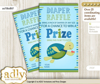 Turtle Boy Diaper Raffle Printable Tickets for Baby Shower, Sea, Reef