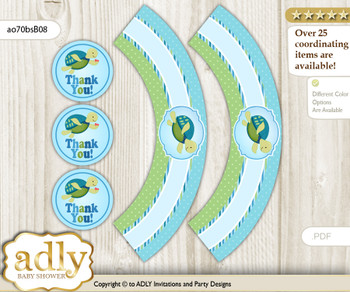 Printable Turtle Boy Cupcake, Muffins Wrappers plus Thank You tags for Baby Shower Sea, Reef