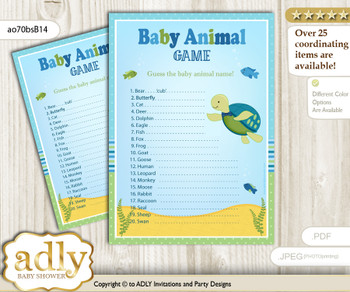 Printable Turtle Boy Baby Animal Game, Guess Names of Baby Animals Printable for Baby Boy Shower, Sea, Reef