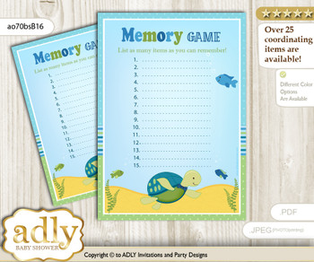 Turtle Boy Memory Game Card for Baby Shower, Printable Guess Card, Sea, Reef