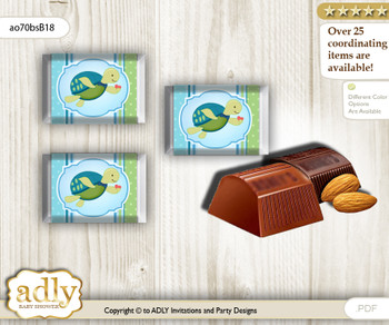 Turtle Boy Chocolate Nuggets Candy Wrapper Label for Baby Turtle Shower  Sea , Reef