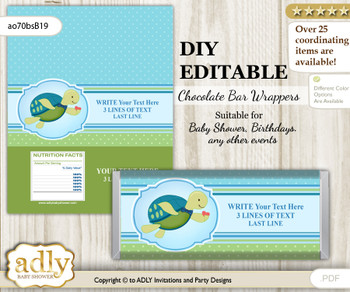 DIY Personalizable Turtle Boy Chocolate Bar Candy Wrapper Label for Turtle  baby shower, birthday Sea , editable wrappers