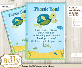 Turtle  Boy Thank you Cards for a Baby Turtle Shower or Birthday DIY Sea, Reef