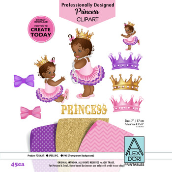 African American Princess Clipart,Pink Gold and purple Baby Shower Digital Clipart,crown clipart, Royal baby shower