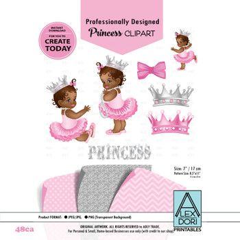 African American Princess,Pink Gold Baby Shower Digital invitation with Chevron Pattern