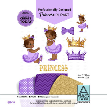 Royal Africa American Baby shower Clipart, Purple and Gold princess clipart, Crown clip art,Digital clipart