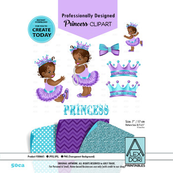 Royal Africa American Baby shower Clipart, Purple and turquoise princess clipart, Crown clip art,Digital clipart