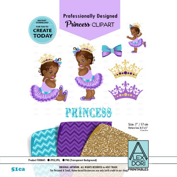 Royal Africa American Baby shower Clipart, Purple gold and turqoise , princess girl digital clipart,Crown clip art,Digital clipart