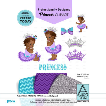 Royal Africa American Baby shower Clipart, Purple Gray and turquoise princes clipart, Crown clip art,Digital clipart