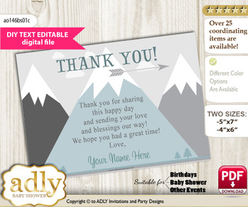 DIY Adventure Mountain Thank you Card, Text Editable customizable wording, for Baby Shower or Birthday Party