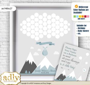 Adventure Mountain Guest Book Alternative for a Baby Shower, Creative Nursery Wall Art Gift, Gray White, Boy